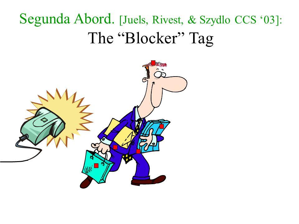 Segunda Abord. [Juels, Rivest, & Szydlo CCS '03]: The Blocker Tag